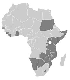 Mapa de países de la ARIPO