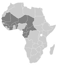 Mapa de países de la OAPI